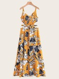 Cut-out Waist Floral Print Cami Dress